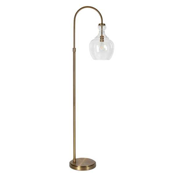 Hudson&Canal Verona Arc 65 in. Brass Floor Lamp with Seeded Glass Shade - Home Depot
