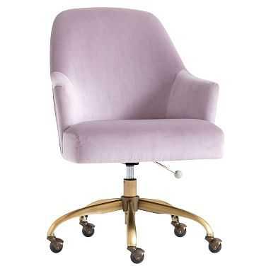 Pleated Desk Chair, Luxe Velvet Dusty Lavender - Pottery Barn Teen