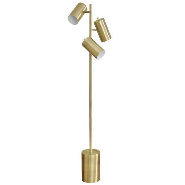 StyleCraft 63 in. Antique Brass Floor Lamp with Antique Brass Metal Shade - Home Depot