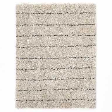 Striped Shag Rug, 5x8, Ivory/Charcoal - Pottery Barn Teen
