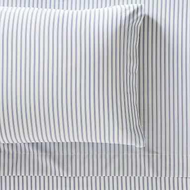 Organic Heritage Stripe Sheet Set, Full, Navy - Pottery Barn Teen
