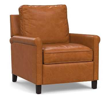Tyler Roll Arm Leather Recliner without Nailheads, Down Blend Wrapped Cushions, Vintage Caramel - Pottery Barn
