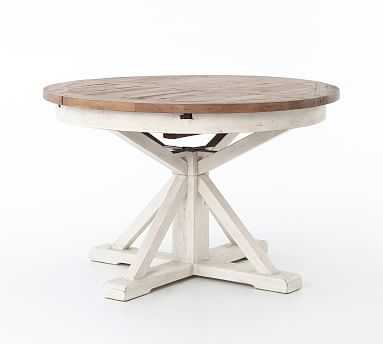 "Hart Extending 48"" Dining Table, Driftwood/Limestone White - Pottery Barn"