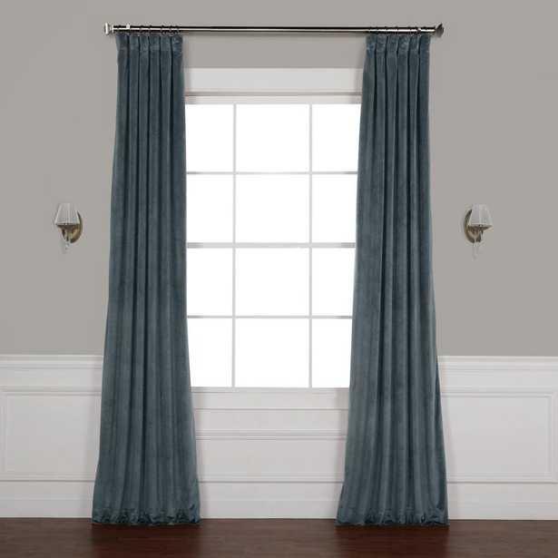 Exclusive Fabrics & Furnishings London Blue Plush Velvet Curtain - 50 in. W x 96 in. L - Home Depot