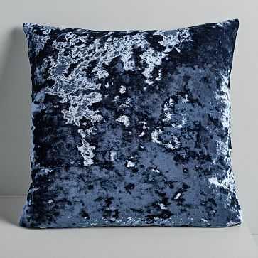 """Pressed Velvet Pillow Cover, Midnight, 20""""x20"""" - West Elm"""