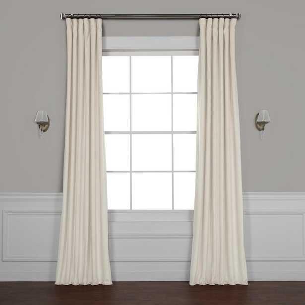 Exclusive Fabrics & Furnishings Vanilla Ivory Plush Velvet Curtain - 50 in. W x 96 in. L - Home Depot