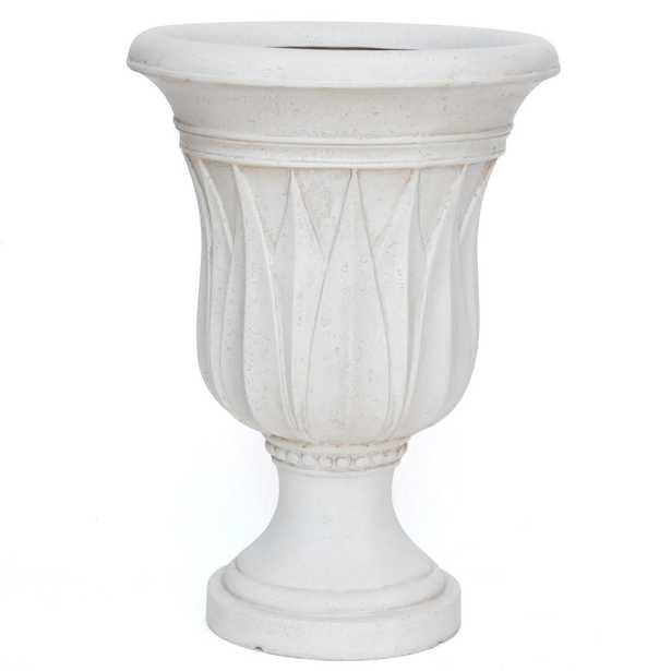 21 in. H. Aged White Cast Stone Sharp Leaf Urn - Home Depot
