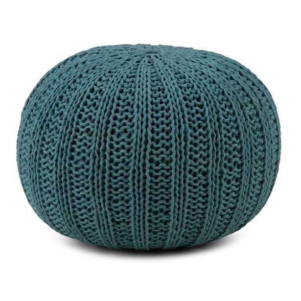 Shelby Teal (Blue) Round Pouf - Home Depot