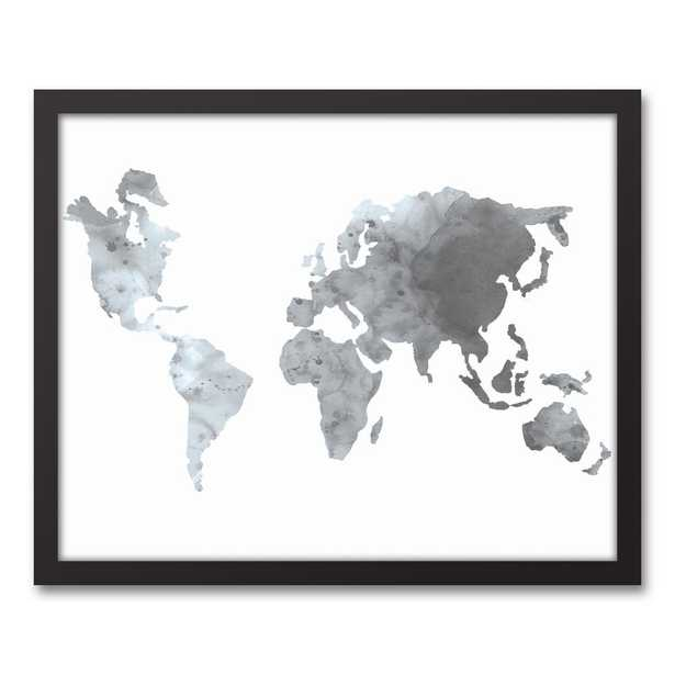 16 in. x 20 in. ''Gray World Map'' Printed Framed Canvas Wall Art, Gray - Home Depot