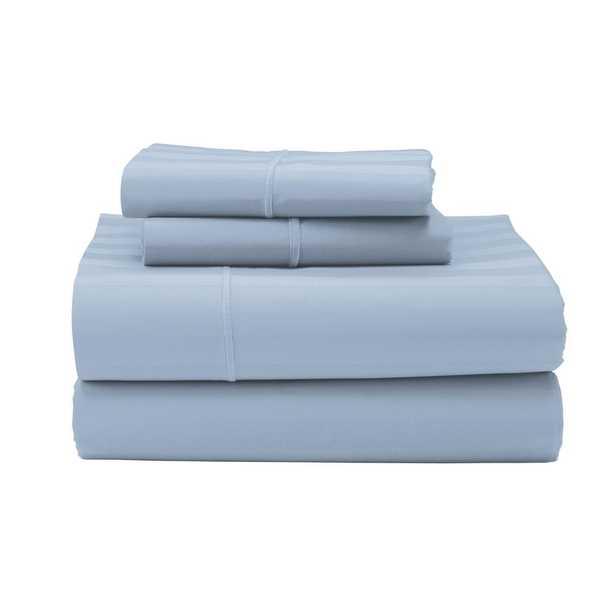 Classic Stripe 4-Piece Ice Blue 350-Thread Count Sateen Queen Sheet Set - Home Depot