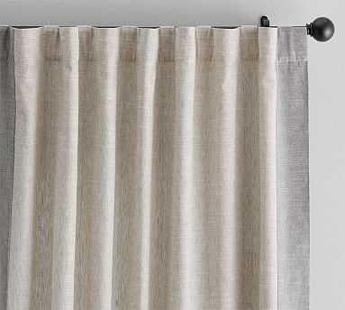 "Emery Framed Border Linen Curtain, 50 X 84"", Oatmeal/Gray - Pottery Barn"