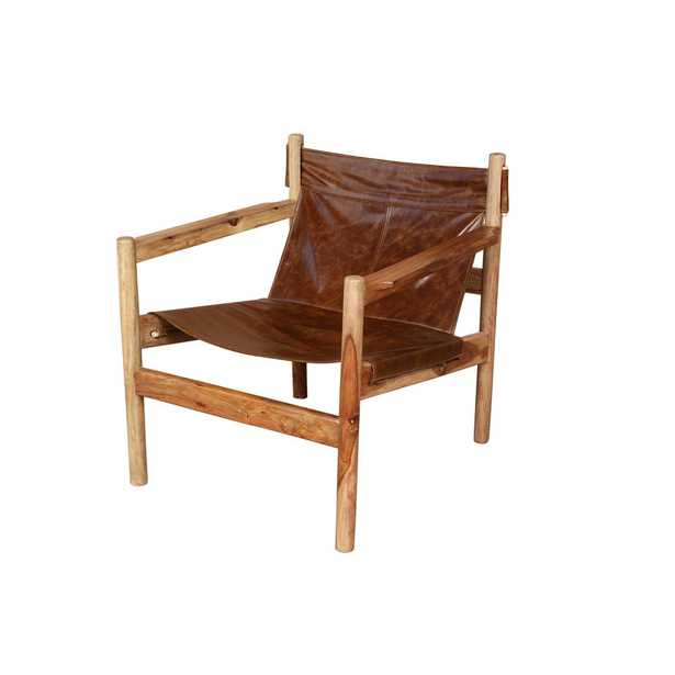 Genoa Brown Leather and Natural Sheesham Wood Leather Sling Chair - Home Depot