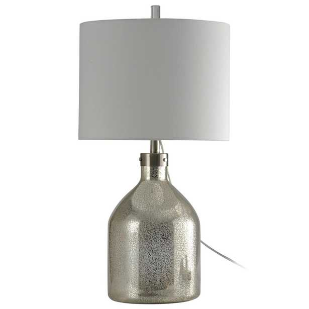 StyleCraft 31 in. Mercury Table Lamp with White Hardback Fabric Shade - Home Depot
