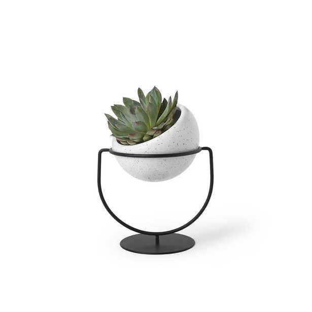 Nesta Ceramic Planter White Speckle - Home Depot