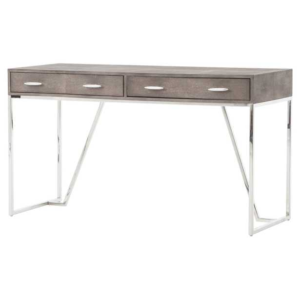 Alard Regency Stainless Steel Faux Shagreen Desk - Kathy Kuo Home