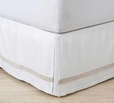 Belgian Flax Linen Contrast Flange Bed Skirt, King, White - Pottery Barn