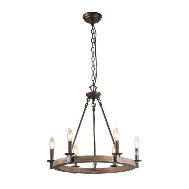 LNC 6-Light Bronze Wood Chandelier - Home Depot