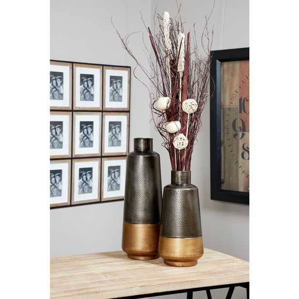 Litton Lane Silver and Gold Textured Metal Decorative Vases (Set of 2) - Home Depot