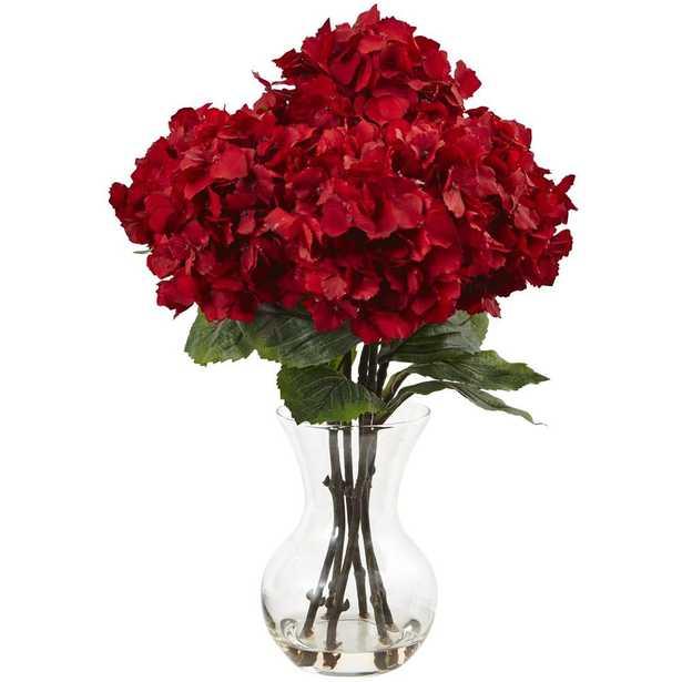 Red Hydrangea with Vase Silk Flower Arrangement - Home Depot