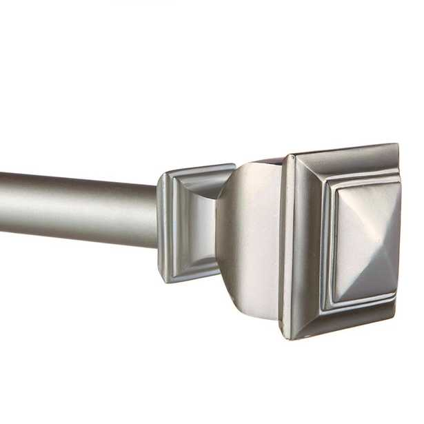 Exclusive Home 66 in. - 120 in. Adjustable Length 1 in. Dia Curtain Rod Kit in Matte Silver with Napoleon Finial - Home Depot