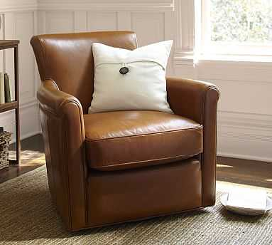 Irving Roll Arm Leather Swivel Armchair without Nailheads, Polyester Wrapped Cushions, Legacy Taupe - Pottery Barn