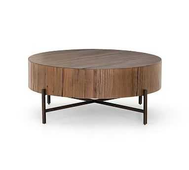 Fargo Round Coffee Table, Natural Brown/Patina Copper - Pottery Barn