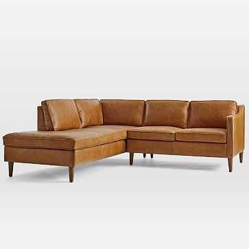 Hamilton Sectional Set 05: Right Arm Sofa, Left Arm Terminal Chaise, Poly, Charme Leather, Burnt Sienna, Almond - West Elm
