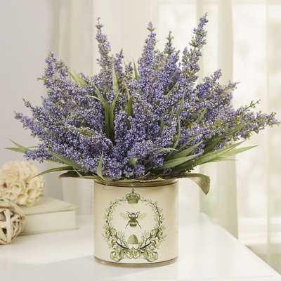 Lavender Centerpiece in Decoupage Pot - Birch Lane