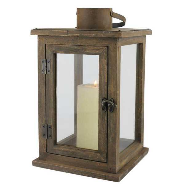 8 in. W x 13 in. H Rustic Brown Lantern, Rustic Wood - Home Depot
