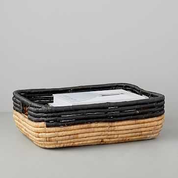 Woven Seagrass Underbed Storage Basket, Natural/Black - West Elm