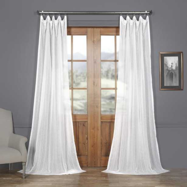 Exclusive Fabrics & Furnishings Bordeaux white Striped Linen Sheer Curtain - 50 in. W x 84 in. L - Home Depot