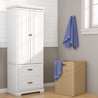 "Lillis 24"" W x 62"" H x 16"" D Free-Standing Linen Cabinet - Birch Lane"