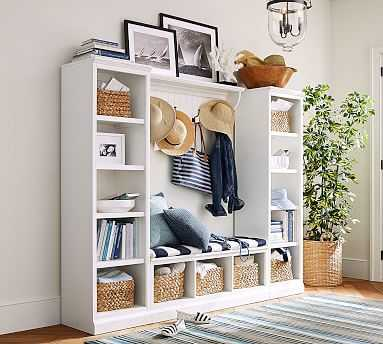 Aubrey 4 Piece Set (1 Bench, 2 Bookcases, 1 Shelf), Dutch White - Pottery Barn