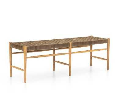 Thomas Woven Leather Bench, Coffee/Natural Oak - Pottery Barn