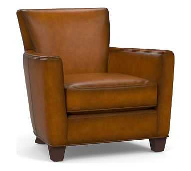 Irving Square Arm Leather Armchair, Polyester Wrapped Cushions, Burnished Bourbon - Pottery Barn