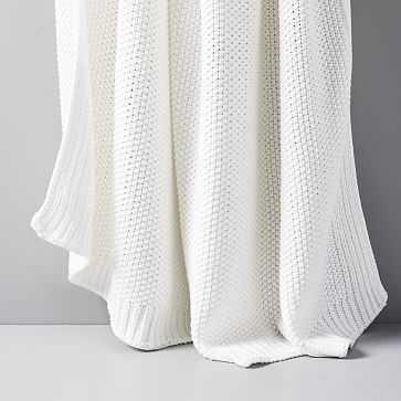 """Cotton Knit Throw, Stone White, 50""""x60"""" - West Elm"""