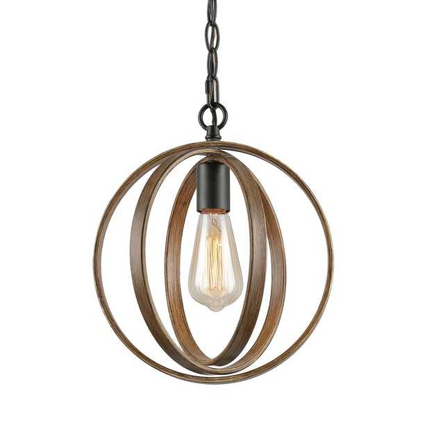 LNC Eniso 1-Light Black Orb Pendant with Distressed Pine Globe - Home Depot