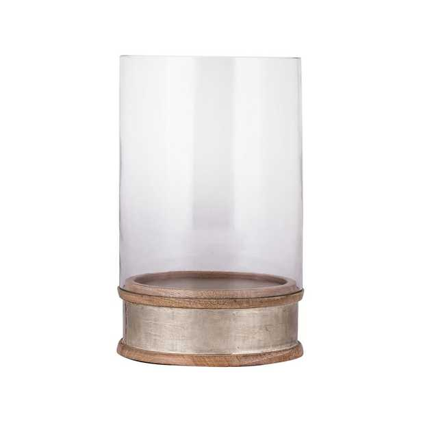 11 in. German Silver Hurricane Candle Holder - Home Depot