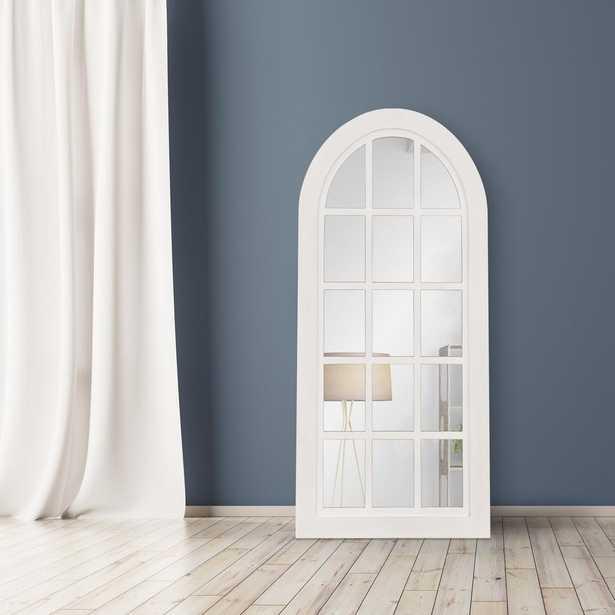 Patton Farmhouse Arch Windowpane White Decorative Mirror - Home Depot