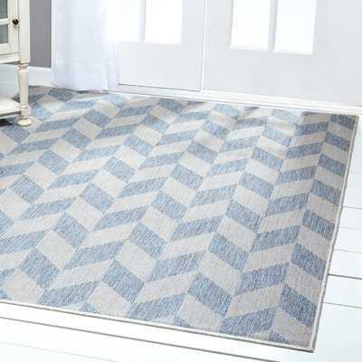 Geometric Blue/Gray Indoor/Outdoor Area Rug - Wayfair