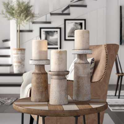 3 Piece Wood Candlestick Holder Set - Birch Lane
