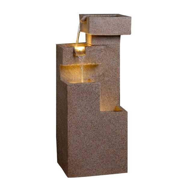 Sand Stone Cascade Tires Outdoor/Indoor Lighted Fountain - Home Depot
