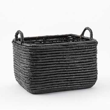 Woven Seagrass Baskets, Black, Large Rectangle - West Elm