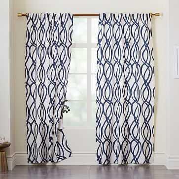 "Cotton Canvas Scribble Lattice Curtain, Set of 2, Midnight, 48""x108"" - West Elm"