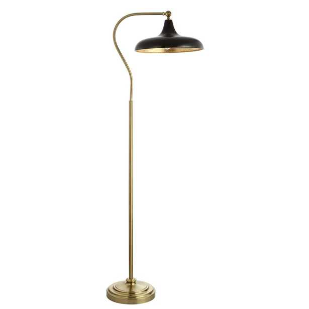 Safavieh Stefan 68 in. Brass/Gold Floor Lamp with Black Shade - Home Depot