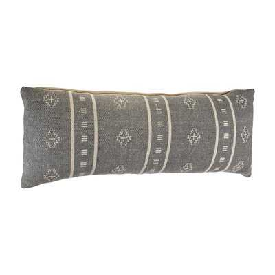 Embroidered Gray And Cream Throw Pillow - Wayfair