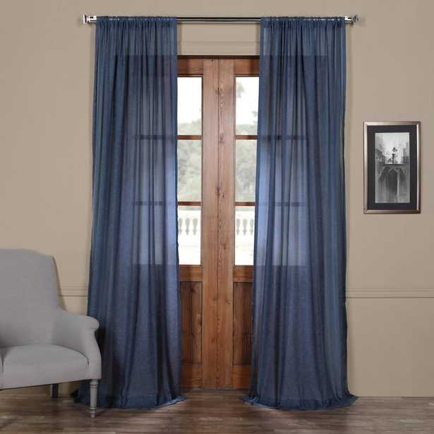 Exclusive Fabrics & Furnishings Blue Lapis Faux Linen Sheer Curtain - 50 in. W x 120 in. L - Home Depot