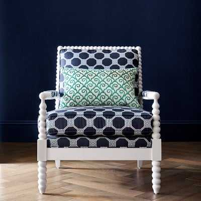 Spindle Chair, Standard Cushion, Schumacher Octavia, Blue, White Leg - Williams Sonoma