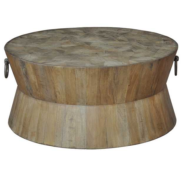 Thea Rustic Lodge Round Wood Coffee Table - Kathy Kuo Home