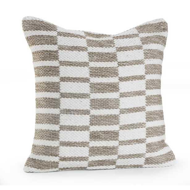 Alternate Blocks Beige / White (Beige/White) 18 in. x 18 in. Throw Pillow - Home Depot